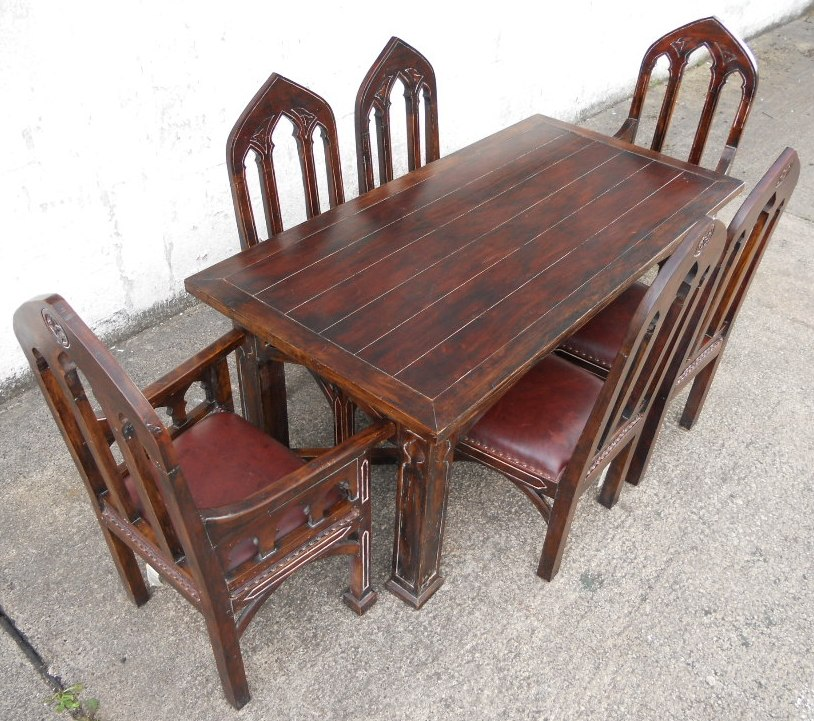 Gothic Style Mahogany Dining Room Set   SOLD